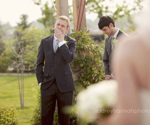 crying, wedding, and groom image