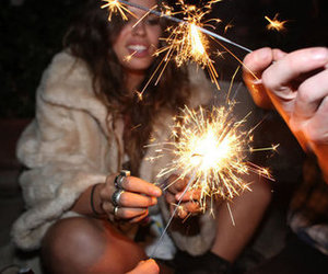 girl, fireworks, and party image