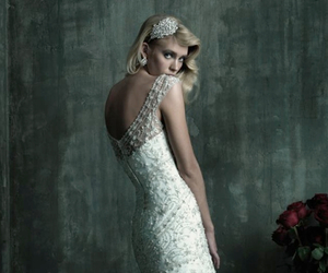 dresses, open back, and wedding dress image