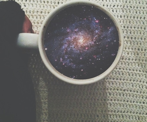 galaxy, cup, and coffe image