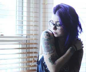 girl, glasses, and ink image