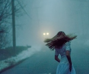 girl, fog, and night image