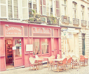 pink, cafe, and paris image