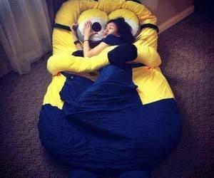 minions, bed, and sleep image