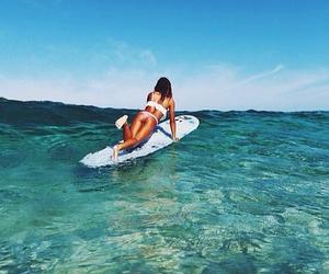 bikini, surfer girl, and ocean image