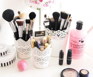 Brushes, makeup, and i love image
