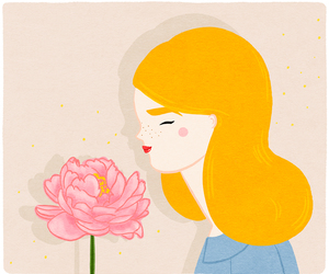 flower, girl, and drawing image
