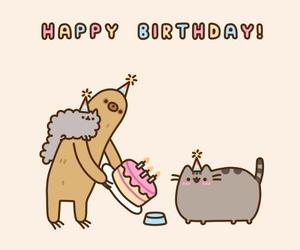 pusheen, cat, and birthday image