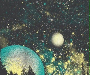beautiful, forest, and galaxy image