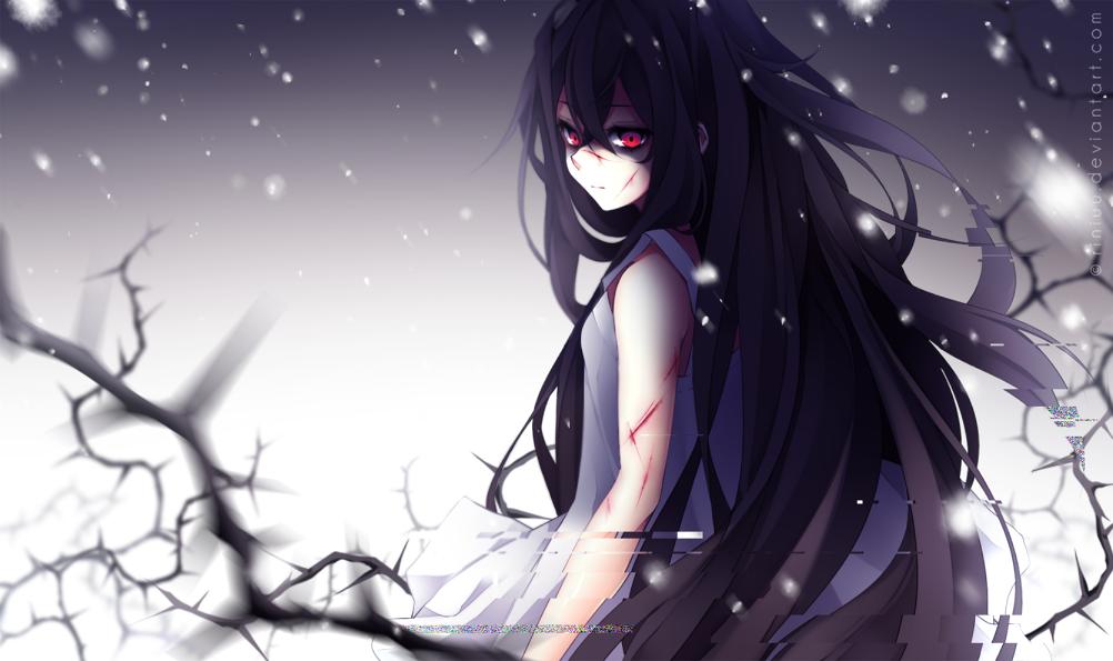 Anime girl with long blue hair