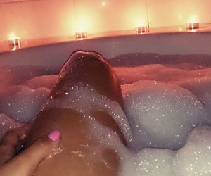 bath, candles, and pink image