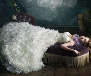 feather, wedding dress, and white image