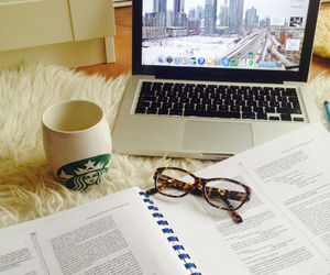 book, studying, and coffee image