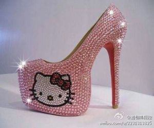 hello kitty, pink, and heels image