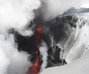 volcano, nature, and snow image