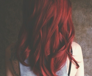 hair, tatto, and red image