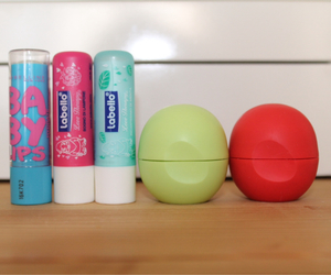 eos, lip balm, and Maybelline image
