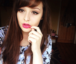 brunette, colourful, and makeup image