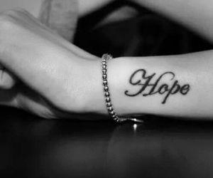 hope, tattoo, and black and white image