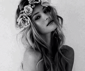 crown, girl, and roses image