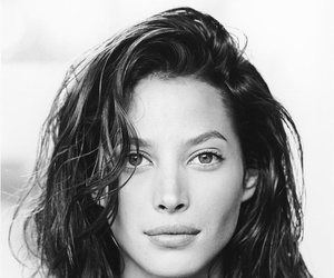 Christy Turlington, model, and black and white image