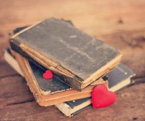 books, heart, and old image