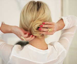 accessories, bun, and blonde image