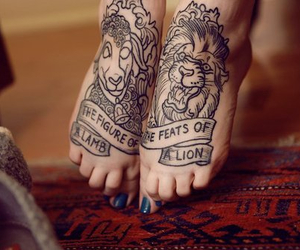 tattoo, lion, and feet image