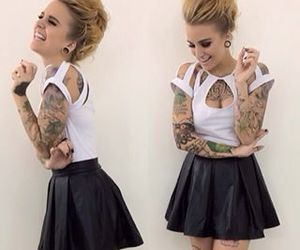 black and white, girls, and tattos image