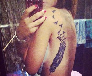 feather tattoo, tan, and Tattoos image