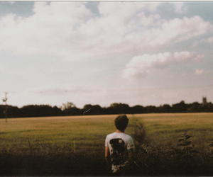 boy, field, and nature image