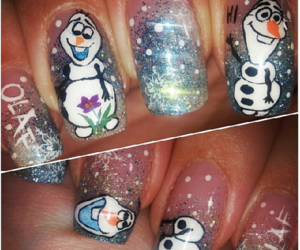 frozen, olaf, and nail art image