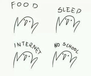 food, sleep, and internet image