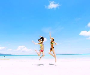 beach, girls, and jump image