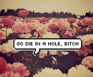 flowers, die bitch, and text bubbles image