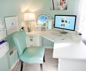 room, blue, and desk image