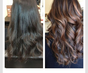 before after, brunette, and carmel image