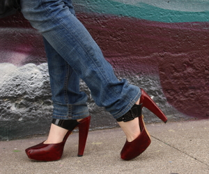 black, burgundy, and heels image