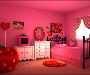 strawberry, pink, and room image
