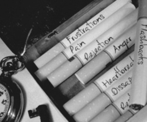 cigarette, black and white, and pain image