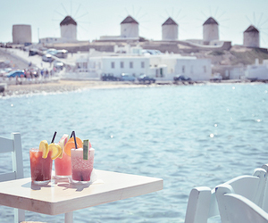 beach, drink, and Greece image