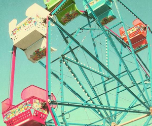 vintage, colorful, and ferris wheel image