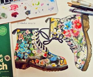 boots, draw, and flowers image