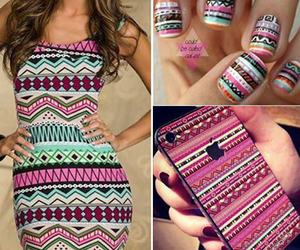 dress, nails, and iphone image
