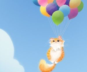 art, balloons, and cat image