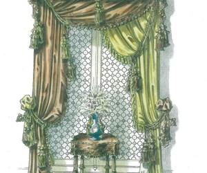 curtains, window valance, and vase image