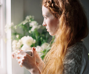 girl, red hair, and tea cup image
