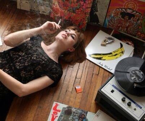 cigarette, music, and vinyl image