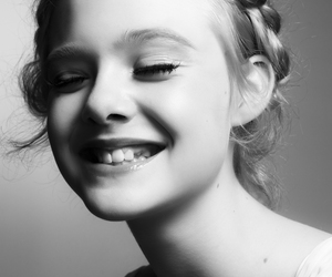 Elle Fanning, smile, and black and white image