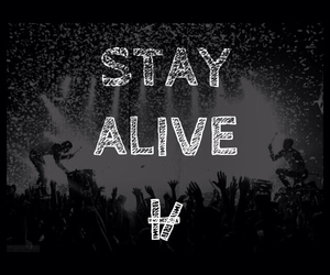 black and white, stay alive, and concert image